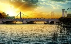 观漪桥黄昏图片