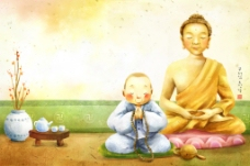 佛祖前念经的和尚
