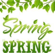 spring艺术字矢量图