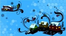 卡通房屋的背景