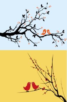 梅花和小鸟矢量图