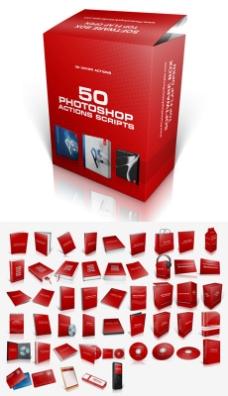 photoshop50款包装盒动作