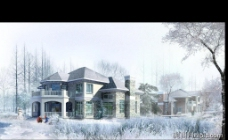 别墅设计效果图psd素材图片