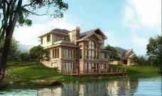 湖畔别墅区效果图图片