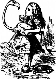 爱丽丝梦游仙境的爱丽丝火烈鸟剪贴画