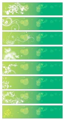 绿花的旗帜矢量