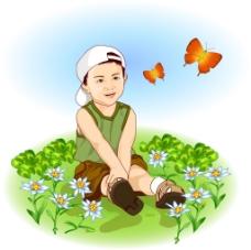 坐在草地上的孩子