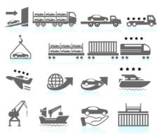 汽车运送图标集