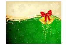 圣诞背景铃铛和装饰的弓