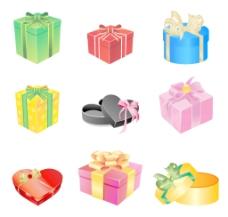 彩色礼品盒用弓和缎带