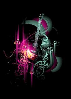 免费的矢量插图3潮流音乐的主题