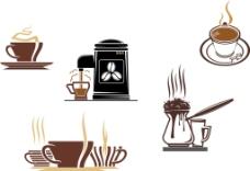 咖啡杯和咖啡壶