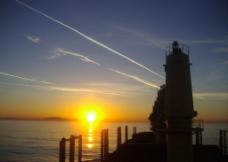 夕陽與船圖片