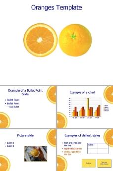 黄色橙子ppt模板