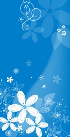 蓝色花卉背景