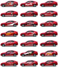 轿跑汽车车贴花纹时尚元素犀利造型可雕刻