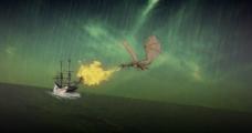 暴雨中火龙攻击渔船图片