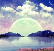 湖上月色图片