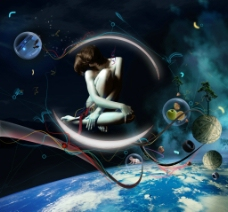 唯美梦幻科技女性地球图片