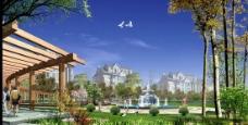 高档地产豪宅花园设计PSD分