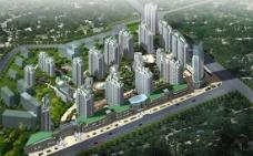 高层建筑楼宇俯视图PSD源文
