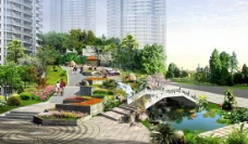 地产楼盘小区花园景观PSD设