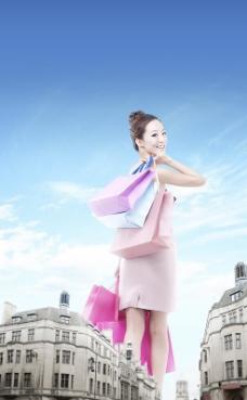 满载而归的购物女郎PSD图片