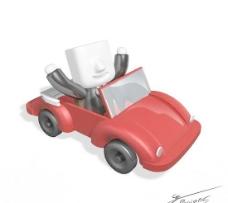 卡通红色跑车PSD图片素材