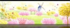 春色满园春天风景PSD分层素