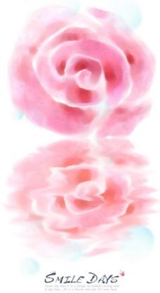 水彩玫瑰花背景PSD分层素材