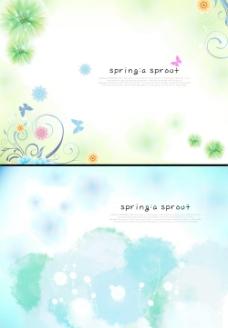 时尚色彩春天背景PSD分层素