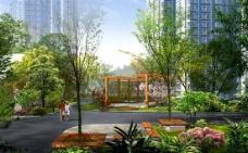 社区中庭花园景观设计PSD素