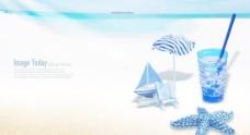 蓝色海洋夏天沙滩海报PSD分