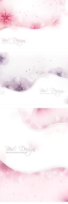 幻影花朵光斑波线背景设计矢量