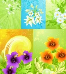 精美花卉花纹背景矢量素材
