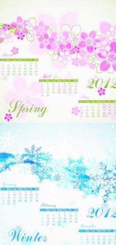 2012年春冬季节日历矢量素材
