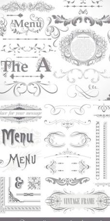 古典花边边纹样式矢量素材