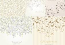 淡雅线条花纹壁纸背景矢量素材