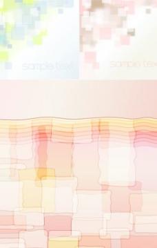 淡彩色块重影背景矢量素材