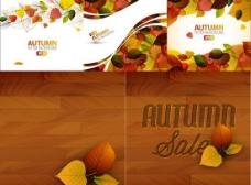 秋天韵律树叶背景矢量素材