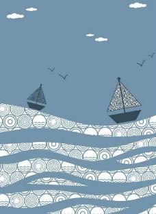 扬帆起航大海风景画矢量素材