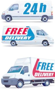 商场免费送货汽车矢量素材