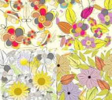 缤纷彩绘鲜花背景矢量素材