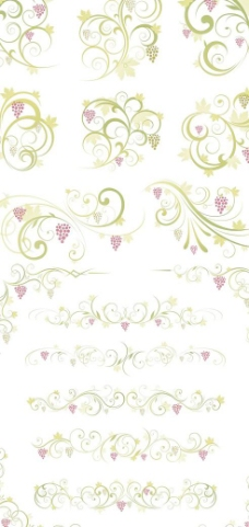 枫叶点缀绿色花边设计矢量素材