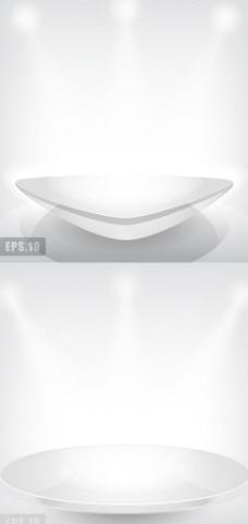 白色灯光照射平台光效背景矢量