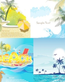 夏日度假海岸风景矢量素材