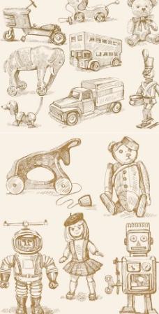 素描儿童玩具矢量素材