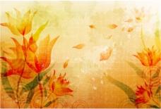 艳丽花卉花瓣凋落背景