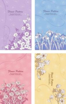 线描花朵背景矢量素材