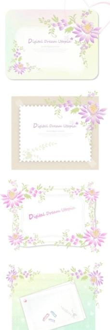 浪漫花卉边纹卡片边框矢量图